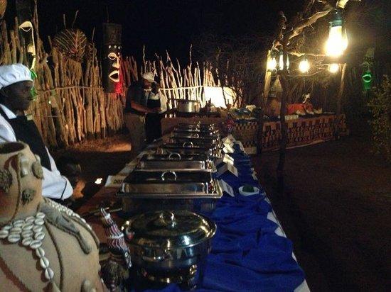 Pan Zam Tourism Project Development Limited - Elephant Oasis Bush Dinners : buffet lay out