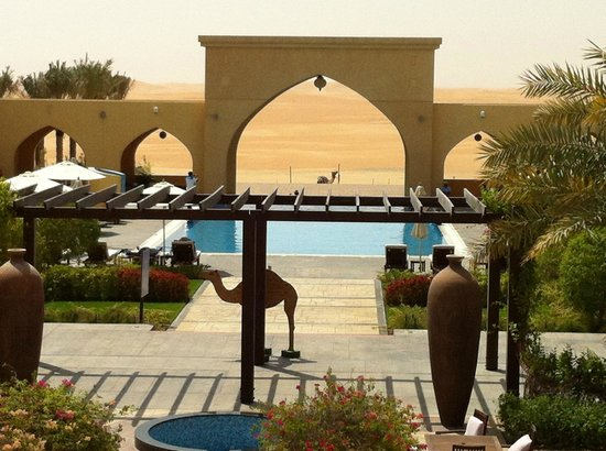 """Tilal Liwa Hotel: Infinity pool with a """"real"""" camel in the background."""