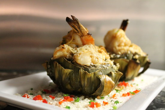 Theodores : Stuffed Artichoke with Shrimp and Lemon Butter (NEW for the 2013 Summer Menu!)