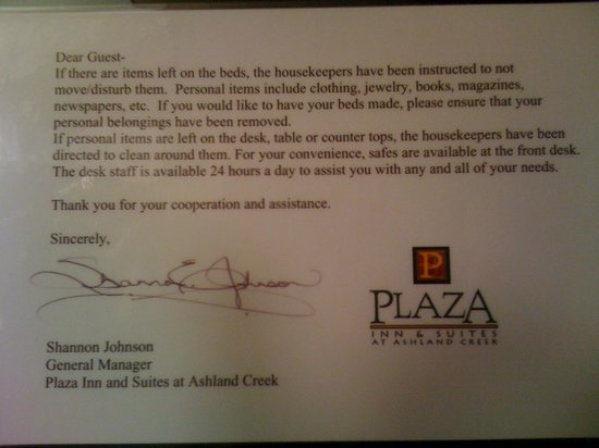 "Plaza Inn & Suites at Ashland Creek: A ""Friendly"" warning from the manager"