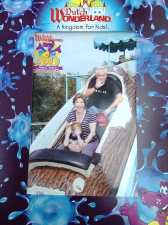 Old Mill Stream Campground: On the log flume ride with Grandma and Grandpa