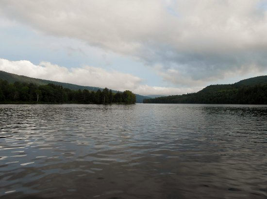 Maine Lakeside Cabins: View from a kayak of Wyman Lake