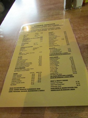 Kenner Seafood INC: Menu
