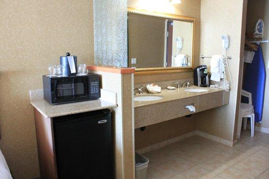 Elizabeth Oceanfront Suites: Vanity, fridge, & microwave