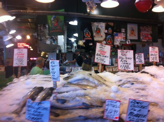 Fresh seafood at pike place market picture of pike place for Pike place fish market video