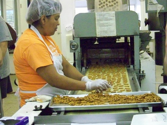 South Bend Chocolate Factory and Museum Tours: Pretzels go into chocolate curtain