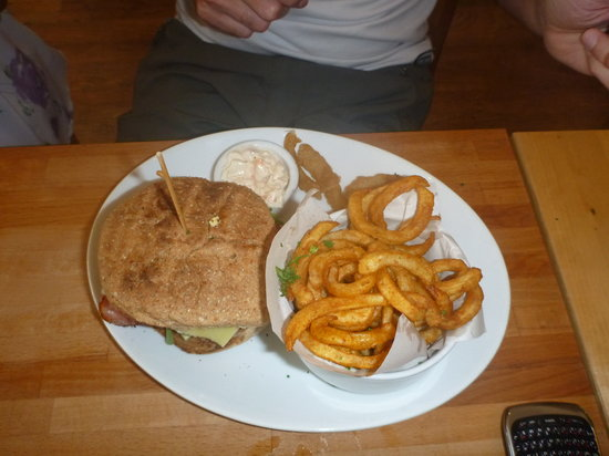 LangeLee's: Cheese and bacon burger with curly fries, to die for