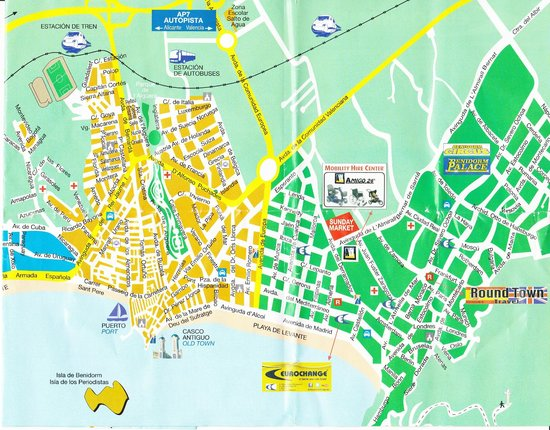 Map of Benidorm showing Levante beach  Picture of Playa de