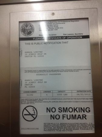 Quality Inn & Suites: elevator certification expired 8/2012 and this is july 2013