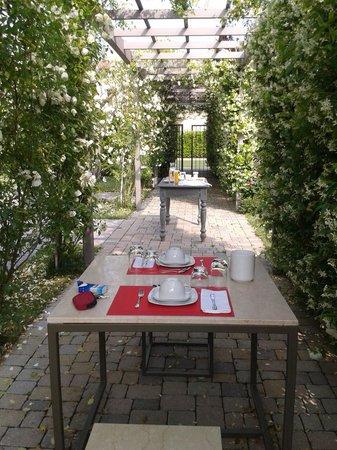 B&B Ca'Minore: Petit déjeuner sous la roseraie