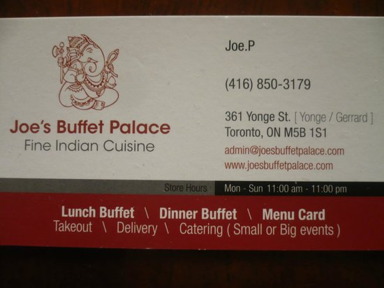 Buffet Palace Carte De Visite Du Restaurant BUFFET PALACE INDIAN CUISINE