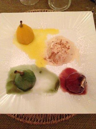Osteria Torromeo: dessert tris di pere con mousse di cannella