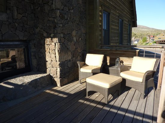 Brasada Ranch: Private deck with indoor/outdoor fireplace