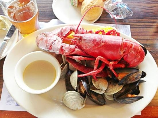 Legal Sea Foods: lobster bake with clams, mussels, corn-on-the-cob, and chourico sausage.