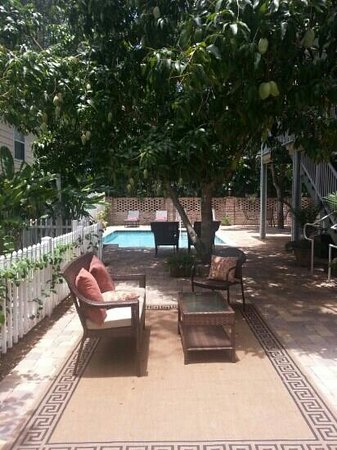 SeaGlass Inn Bed and Breakfast: Beautiful mango trees and gorgeous lounge space