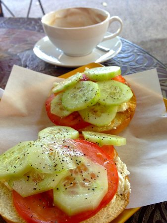Espresso Italiano: Goat Cheese and cucumber bagel with tomato