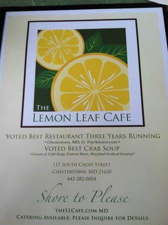 Lemon Leaf Cafe : menu