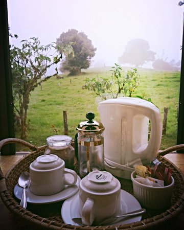 Poas Volcano Lodge: Waking to strong coffee and pastoral view