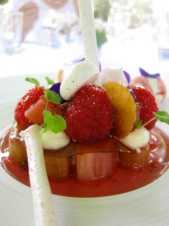Gästehaus Erfort: Dessert Erbeere, Rhabarber- genau das Richtige bei 30 Grad