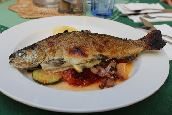 Restaurace U Labuti: The baked trout with grilled vegetables