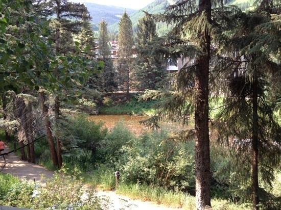 Vail's Mountain Haus at the Covered Bridge: view from our patio #218. beautiful!