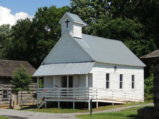 Great Smoky Mountain Heritage Center: outside the church