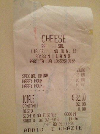 Cheese : Scontrino