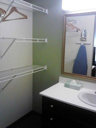 "Extended Stay America - Dallas - Plano: ""closet area"" - no way to tuck things away out of sight"