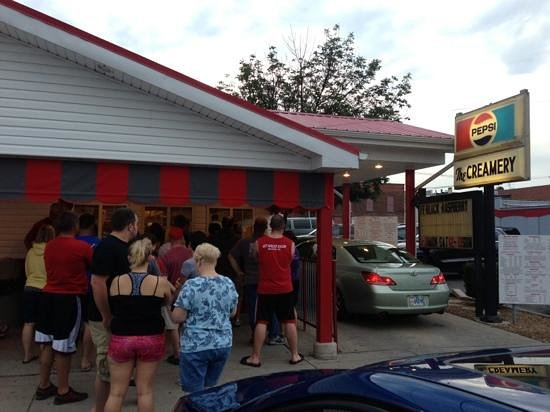 The Creamery: The Line for Ice Cream on a July Sunday night in Delphos.