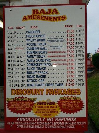 Baja Amusements: 3 Minute Price List
