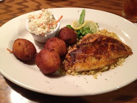 JW Steakhouse: Red Snapper, blackened with slaw and hush puppies