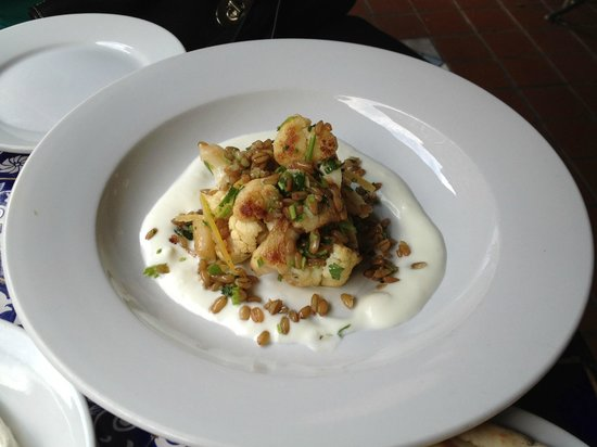 Mogador Cafe: Roasted Cauliflower with Smoked Farro & Preserved Lemon over Sheep's Milk Yoghurt
