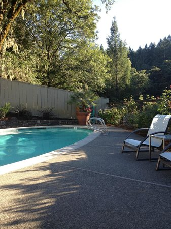 The Chanric Inn: Pool area rimmed with roses.