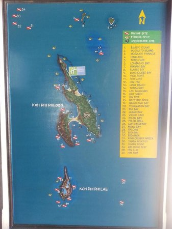 Ko Phi Phi Don, Thailand: The complete map of Phi Phi... look for the no 2 island!