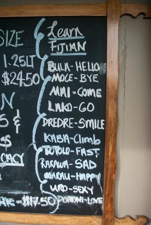 Tanoa Skylodge Hotel: Noticeboard with happy hour deals also