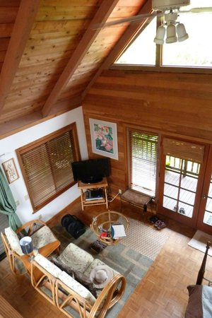 Lotus Garden Cottages: View of living area from loft
