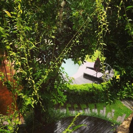 Soulshine Bali : View of pool from the Lotus terrace deck.