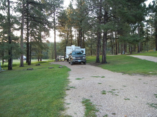 Rafter J Bar Ranch Campground: long site in the island