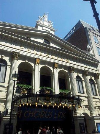 London Palladium: outside the Palladium in the beautiful July sunshine