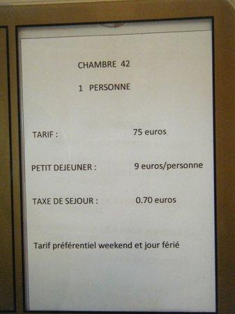 Hotel Victor Hugo Toulouse: Fiche de la chambre