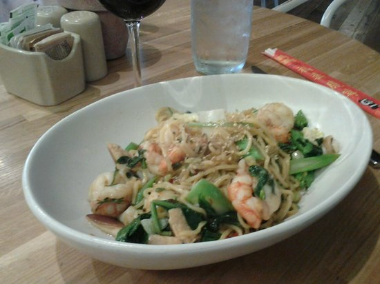 True Food Kitchen: Spiced red chili shrimp with noodles