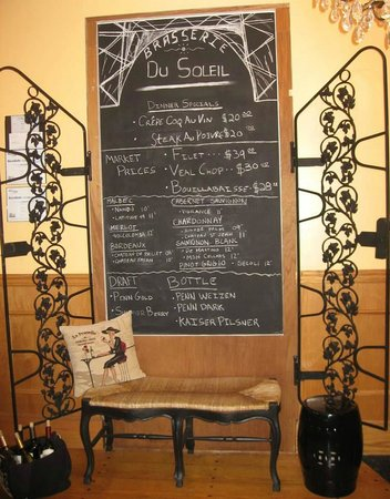Brasserie du Soleil: Part of the restaurant offerings