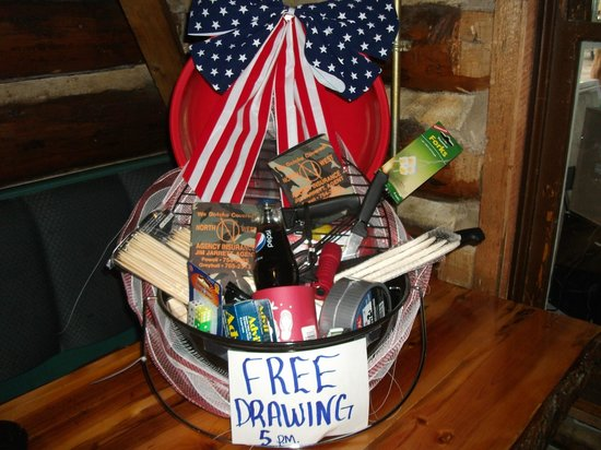 Moose Crossing Restaurant at Bear Lodge Resort : Prize for the 4th of July drawing at Bear Lodge
