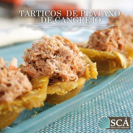 Sca Beach Club Restaurant: Tarticos de platano relleno de cangrejo