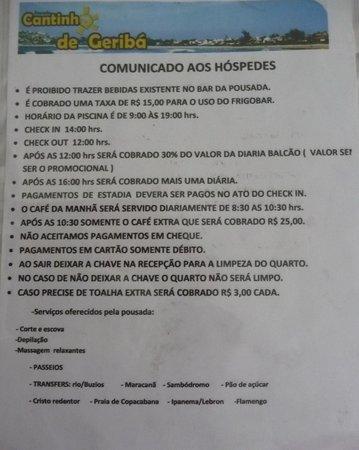 Pousada Cantinho de Geriba: The rules and fees of the pousada