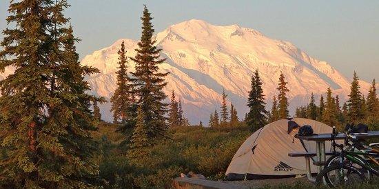 Wonder Lake Campground: Morning view of Denali from Wonder Lake CG