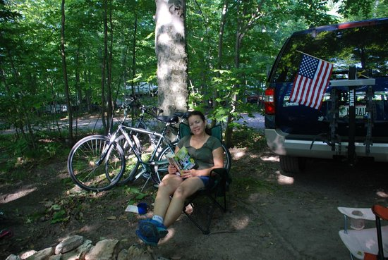 Egg Harbor Campground : reading my book by the firepit
