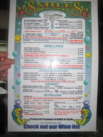 Smiles Seafood Cafe: Menu