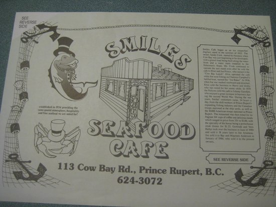 Smiles Seafood Cafe: history place mat