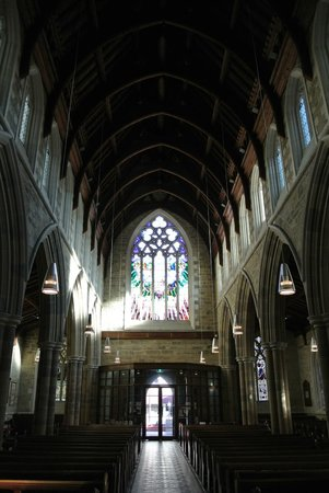 St. David's Cathedral: Looking back along the nave
